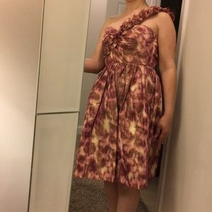 Maggy London One Shoulder Ruffled Dress EUC